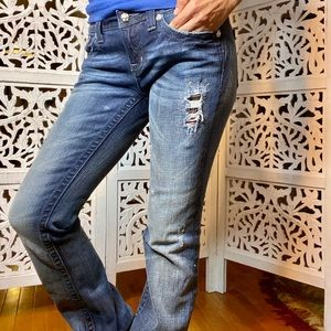 Miss Me destroyed beaded jeans 28 boot